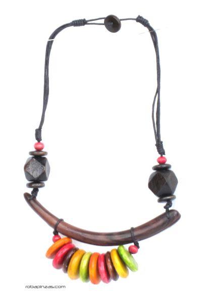Collar tribal asimétrico estilo africano. realizado en maderas duras Comprar - Venta Mayorista y detalle