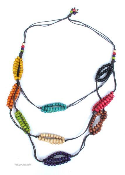 Collar artesanal largo. cordón de algodón cuentas de madera [COBOU15] para Comprar al mayor o detalle