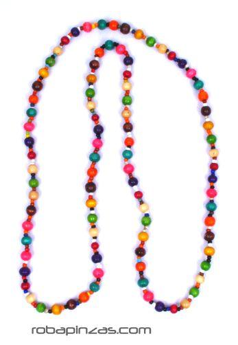 Collar largo multicolor, se le puede dar dos vueltas, realizado COBOU19 para comprar al por mayor o detalle  en la categoría de Bisutería Hippie Étnica Alternativa.