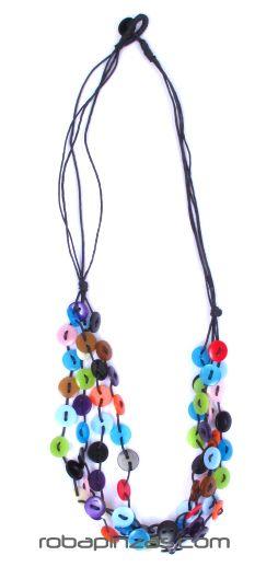 Collar de botones de colores, hilo de algodón multiple, Comprar - Venta Mayorista y detalle