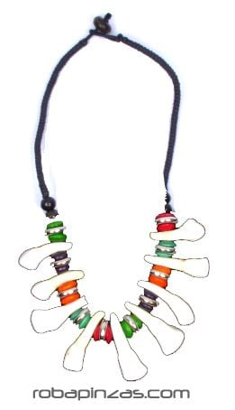 Collar de dientes de búfalo y cuentas de colores, cierre [COBOU24] para Comprar al mayor o detalle
