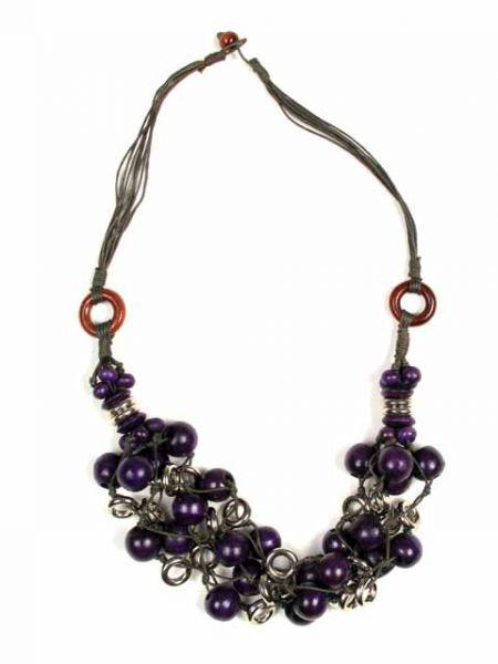 Collar de bolas de colores aros de metal, cierre de botón Comprar - Venta Mayorista y detalle