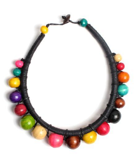Collar redondo rígido de bolas de colores, cierre de botón Comprar - Venta Mayorista y detalle