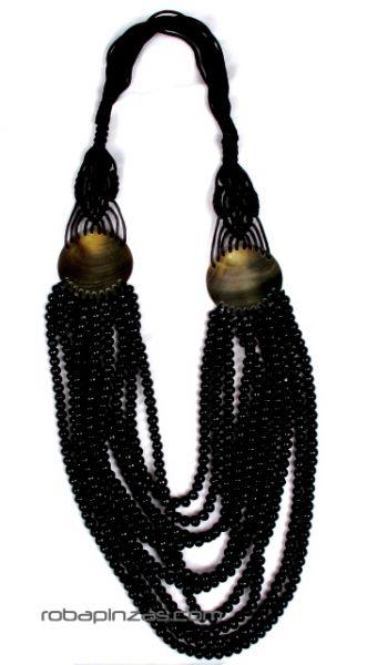 Collar largo multivueltas de madera con adornos en conchas, cordón Comprar - Venta Mayorista y detalle