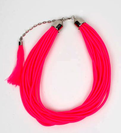 Collar grueso de hilo en colores lisos y fosforescentes multivueltas [COBOU35] para Comprar al mayor o detalle