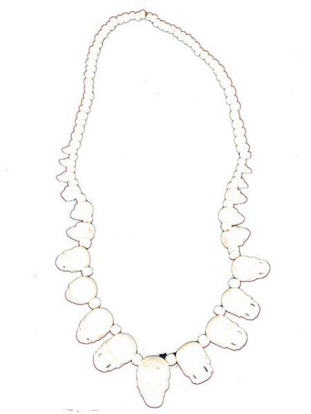Collar calaveras hueso cuerno. collares realzados con más de 20 calaveras [COCHSK] para Comprar al mayor o detalle