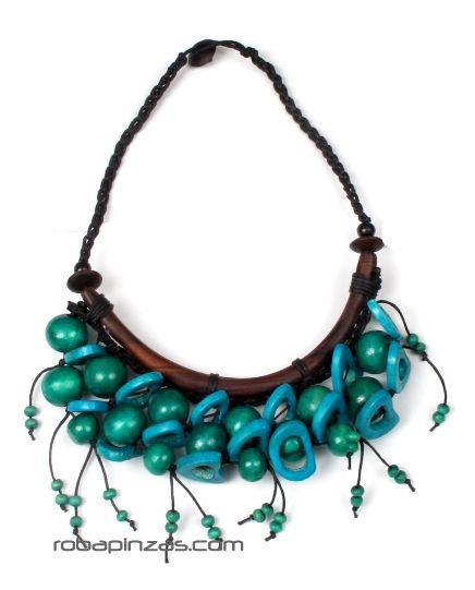 Collar étnico de bolar de madera y hueso de colores, cierre Comprar - Venta Mayorista y detalle