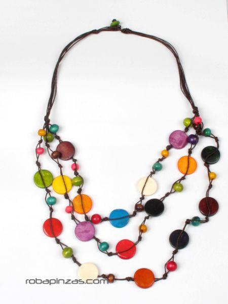 Collar largo de cuentas redondas de hueso coloreadas, con cierre Comprar - Venta Mayorista y detalle