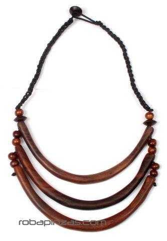 Collar tribal étnico de madera, 3 niveles con cierre de Comprar - Venta Mayorista y detalle