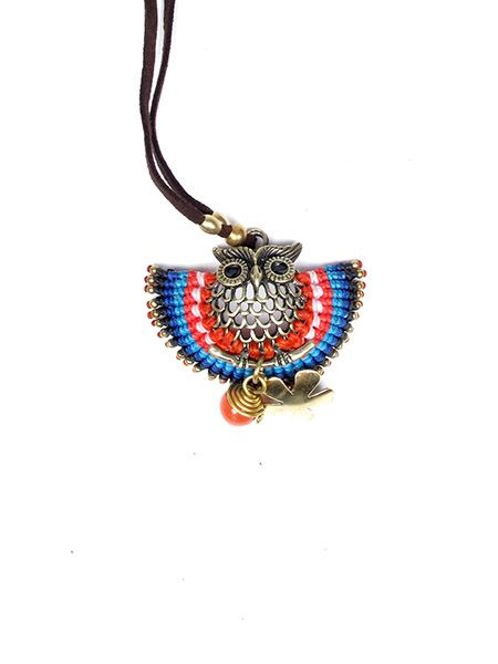 Collares Hippie Étnico - Collar colgante Buho macrame COHA01 para comprar al por Mayor o Detalle en la categoría de Bisutería Hippie Étnica Alternativa