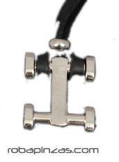 Collar de cordón de cuero rectangular grueso, colgantes metálicos, COLEC para comprar al por mayor o detalle  en la categoría de Bisutería Hippie Étnica Alternativa.