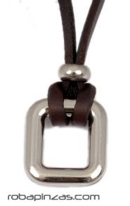 Collar de cordón de cuero rectangular grueso, colgantes metálicos, Comprar - Venta Mayorista y detalle