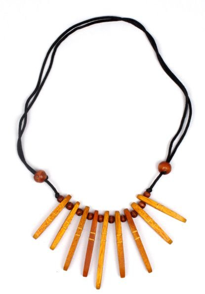 Collar etnico madera decorada cordón regulable [COMD3] para comprar al por Mayor o Detalle en la categoría de Collares Hippie Étnico