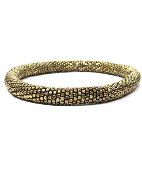 Collar dorado grueso y flexible. collar elástico realizado con pequeños cubos metálicos dorados engarzados, grueso aproximado 1,5cm - Detalle Comprar al mayor o detalle