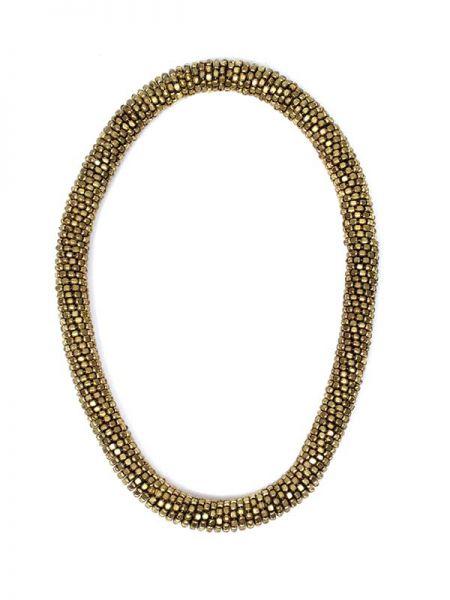 Collares Hippie Étnico - collar dorado grueso y flexible. COMG01.