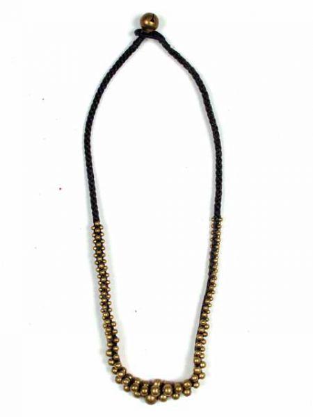 Collar bolas latón hilo encerado COMS02 para comprar al por mayor o detalle  en la categoría de Bisutería Hippie Étnica Alternativa.