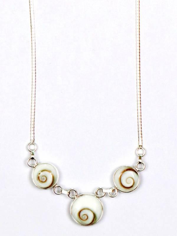 Colgante de Plata con tres Ojos de Shiva y cadena [COOJ02] para comprar al por Mayor o Detalle en la categoría de Ojo de Shiva - Plata