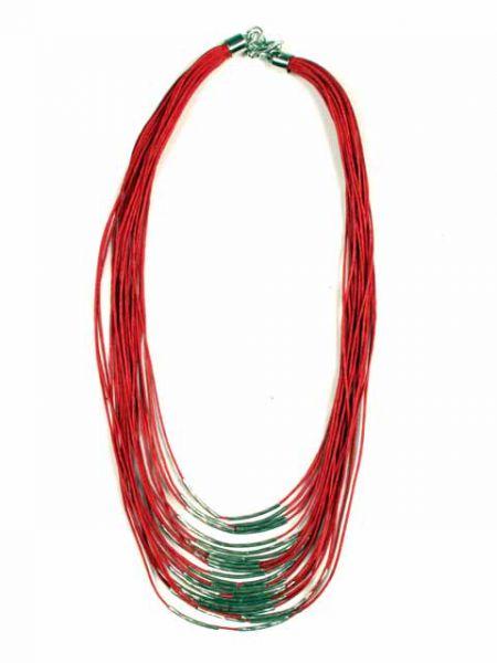Collar étnico cordón multi vuelta decoración plata [COPA11] para Comprar al mayor o detalle