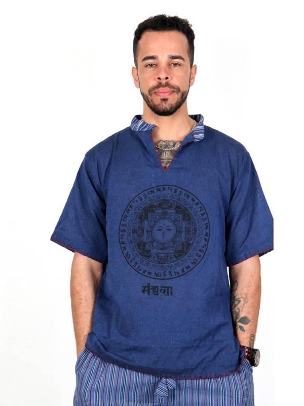 Camisas Hippies M Corta - Camisa mandala tibetano con cuello mao abierto [CSHC01] para comprar al por mayor o detalle  en la categoría de Ropa Hippie Alternativa para Hombre.