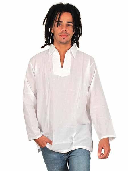 Camisa ibicenca cuello abierto - Detalle Comprar al mayor o detalle