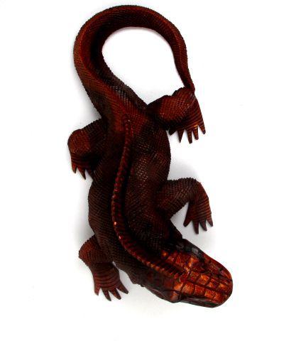 Iguana tallada, iguana tallada en madera tropical, largo de 40cm - Detalle Comprar al mayor o detalle
