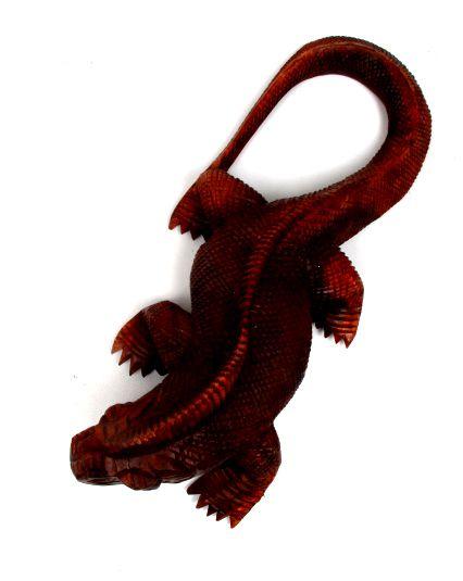 Iguana tallada 30cm, figura tallada a mano en maderas tropicales largo 30cm - Detalle Comprar al mayor o detalle