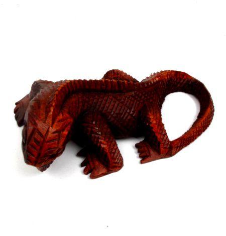 Iguana tallada 20cm, figura tallada en maderas tropicales de 20 cm de largo - Detalle Comprar al mayor o detalle