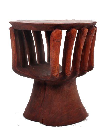 Mesa tallada en madera de teca, diseño Mano, medidas 50x50x50 Comprar - Venta Mayorista y detalle
