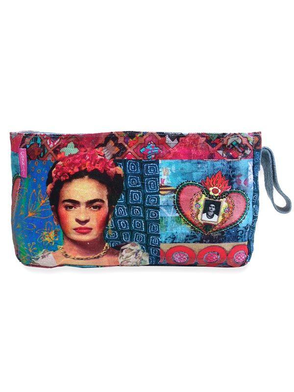 Colección Catkini - Frida Kahlo - Neceser Grande Estampados Frida Kahlo. [ESMEBA] para comprar al por mayor o detalle  en la categoría de Complementos Hippies Étnicos Alternativos.
