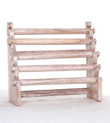 Expositores Madera - Excpositor de anillos en escalera con 5 rulos, medidas 24x20 cm [EXAN03] para comprar al por mayor o detalle  en la categoría de Artículos Artesanales.