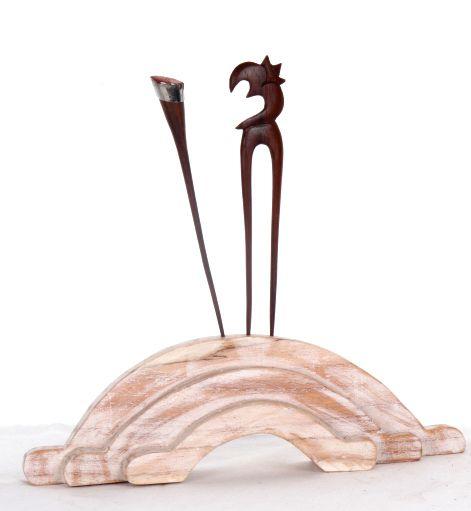 Expositor para palos del pelo en madera. dos colores - detalle Comprar al mayor o detalle