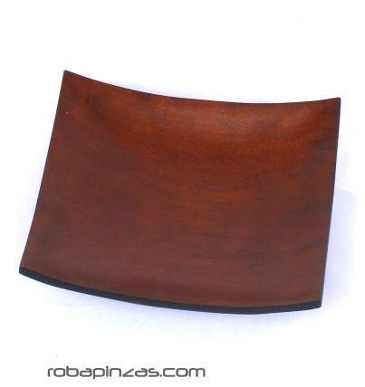 Plato de madera de palma. grande 20x20 cm también como expositor EXCU07 para comprar al por mayor o detalle  en la categoría de Artículos Artesanales.