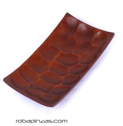 Plato expositor de madera de palma, rectangular 25x13cm - DETALLE Comprar al mayor o detalle