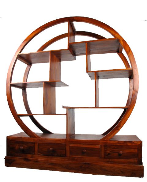 Mueble expositor redondo realizado expositores madera for Antecomedores redondos madera