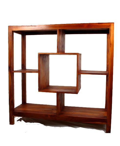 Mueble expositor cuadrado de madera de teca, medidas 100x100x35. Comprar - Venta Mayorista y detalle