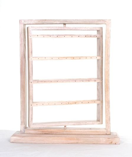 Expositor para pendientes giratorio con 4 líneas en cada lado, medidas: 30x40 cm - Blanco Comprar al mayor o detalle