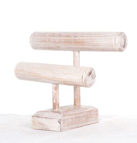 Expositor de pié en escalera para pulseras de dos alturas, en madera medidas 25x22x14 cm - Comprar al Mayor o Detalle