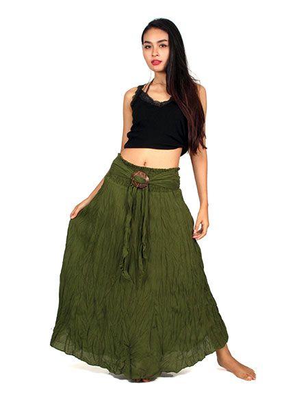 Falda hippie larga hebilla de coco FAAL02 para comprar al por mayor o detalle  en la categoría de Ropa Hippie Alternativa para Mujer.