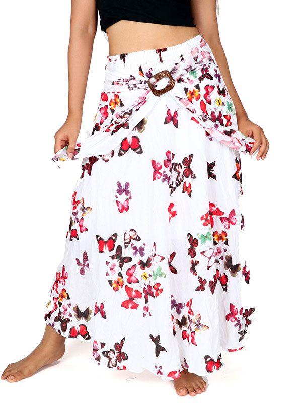 Falda larga estampada con hebilla de coco - Detalle Comprar al mayor o detalle