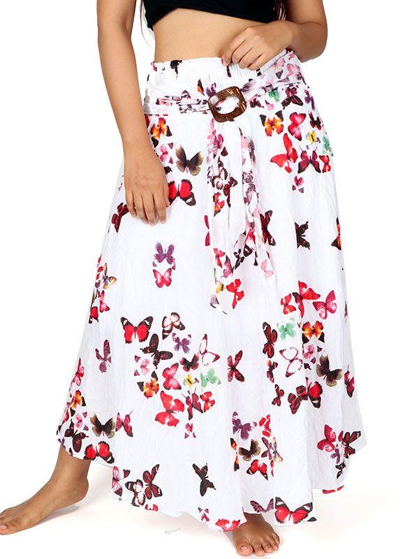 Faldas Hippie Étnicas - Falda larga estampada con hebilla de coco FAAL04 para comprar al por Mayor o Detalle en la categoría de Ropa Hippie Alternativa para Mujer