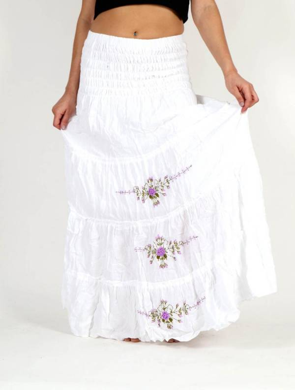 Faldas Hippie Boho Étnicas - Vestido-Falda Étnico Bordado Flores [FAAO01] para comprar al por mayor o detalle  en la categoría de Ropa Hippie Alternativa para Chicas.
