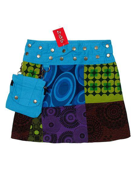 Minifalda hippie patchwork bolsillo desmontable Comprar - Venta Mayorista y detalle