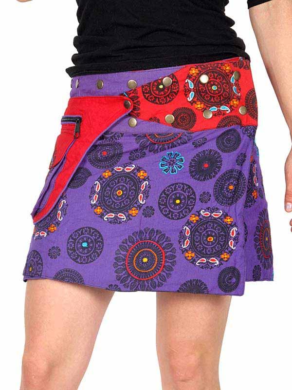 Minifalda 100% algodón estampado y bordados con clips regulable Comprar - Venta Mayorista y detalle