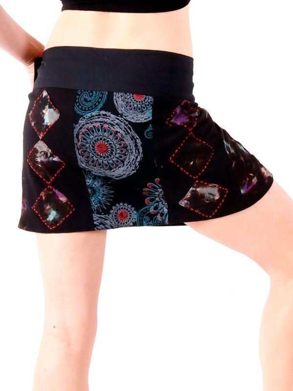 Minifalda hippie con bordados patchwork - Detalle Comprar al mayor o detalle