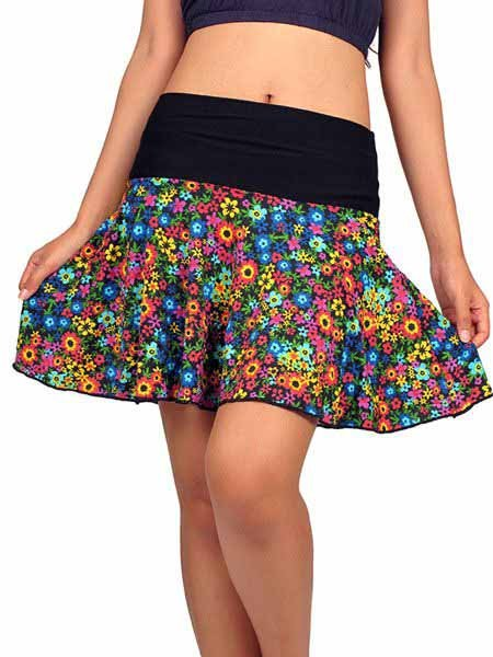 Minifalda hippie de flores con vuelo Comprar - Venta Mayorista y detalle