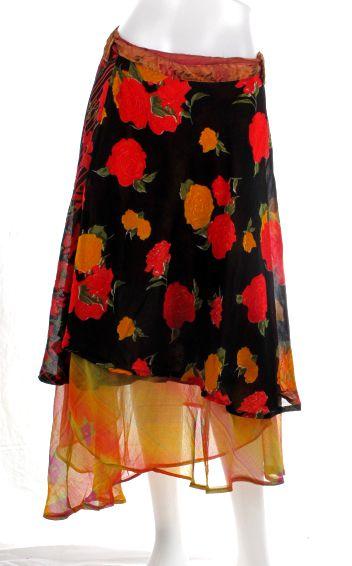 Faldas Hippie Étnicas - Falda doble cruzada hippie realzadas con saris reciclados, son casi [FAHC05] para comprar al por mayor o detalle  en la categoría de Ropa Hippie Alternativa para Mujer.