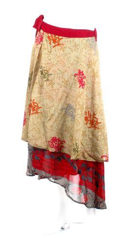 Falda doble cruzada hippie realzadas con saris reciclados, son casi todas diferentes, los modelos son orientativos, talla única - detalle Comprar al mayor o detalle