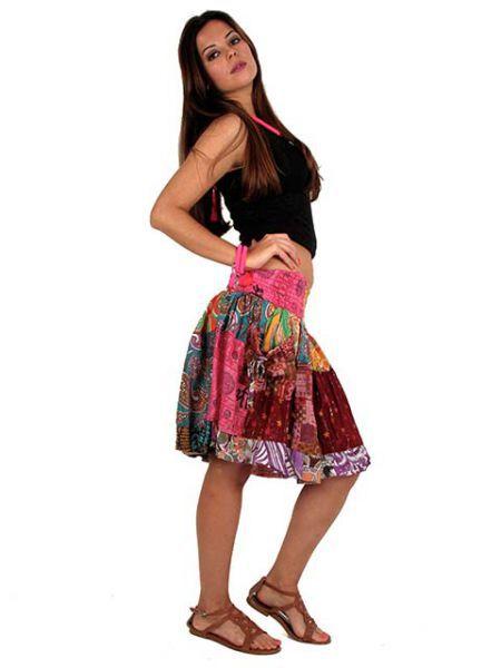 Falda hippie corta estampada, falda 100% algodón con volantes y elástico Comprar - Venta Mayorista y detalle