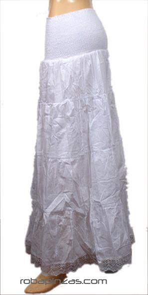 Falda de algodón larga elástico en cintura, forro interno fino, Comprar - Venta Mayorista y detalle