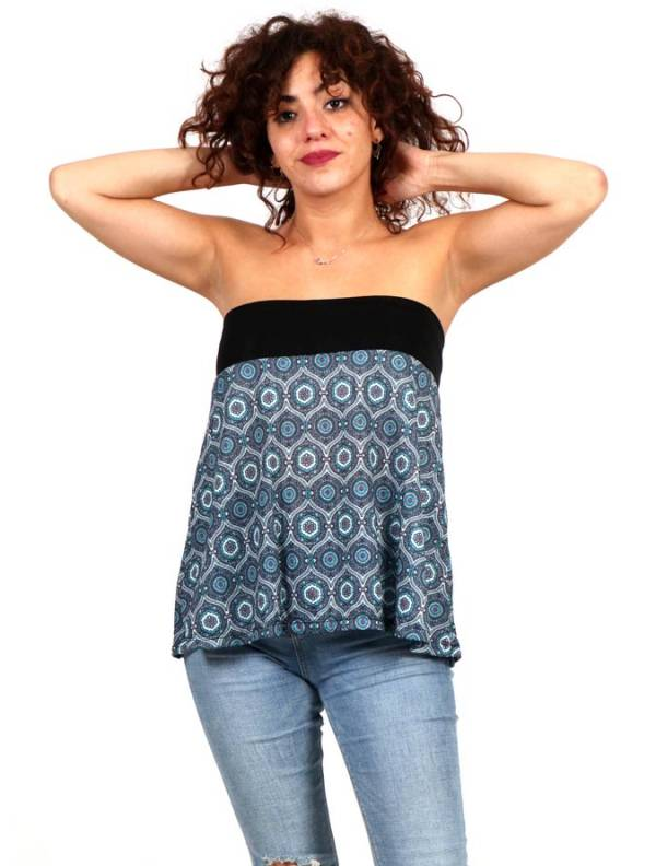 Camisetas y Tops Hippies - Top corto Hippie con estampado de mandalas FASN18-T para comprar al por Mayor o Detalle en la categoría de Ropa Hippie Alternativa para Mujer